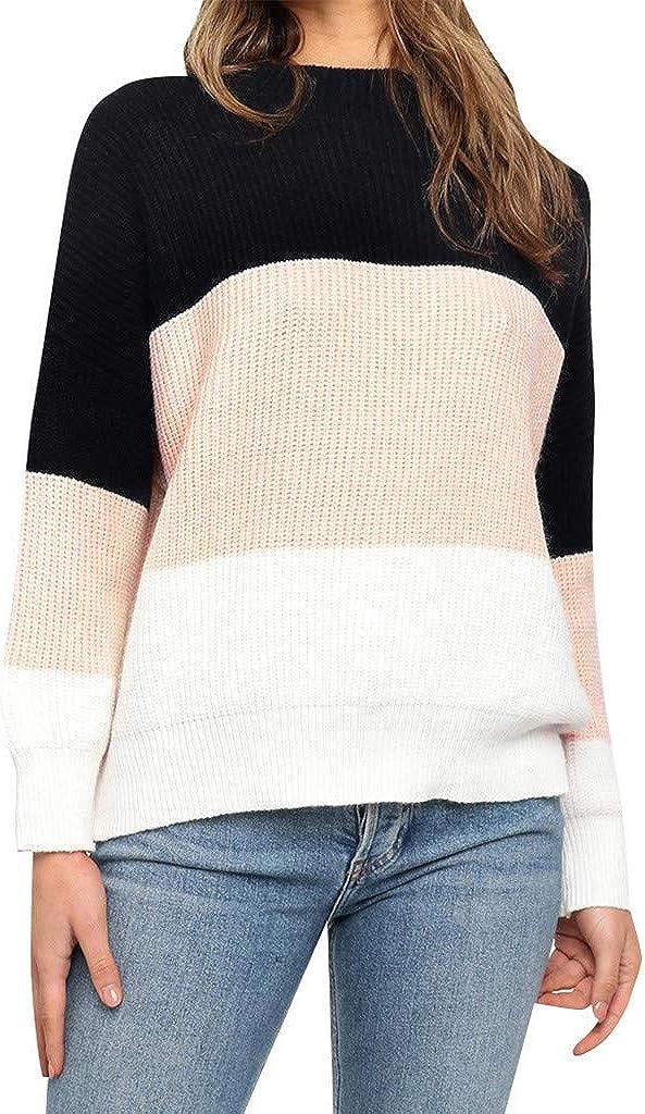 FABIURT Women's Casual Sweater Color Stripe Knit Pullover Jumper Sweater Tops Cozy Outwear Sweaters Jumper Blouse