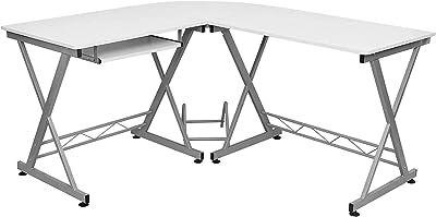 Songmics Bureau Informatique Table Informatique Travail Ordinateur Meuble de Bureau pour blanc, 150 x 138 x 75 cm, LCD402W