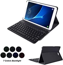 Samsung Galaxy Tab A 10.1 SM-T580 Keyboard Leather Case, 7 Color Backlit Slim PU Case Wireless Bluetooth Stand Removable Keyboard Shell Cover with Auto Sleep/Wake for T580N T585 T585N (Black)