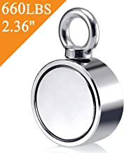 Uolor Double Side Round Neodymium Fishing Magnet, Combined 660 LBS Pulling Force Ultra Strong Neodymium Magnet with Eyebolt for Magnet Fishing and Retrieving in River - 2.36