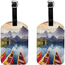 2 PCS Small luggage tag Nature Dreamy Majestic Mountains View Reflections from Shore with Boats Pastoral Landscape Unisex Multicolor
