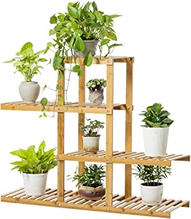 Bamboo Flower Plant Stand: Plant Shelves Flower Pots Shelving Unit Indoor 4 Tier 98x81x28cm Space Saving for Living Room B...