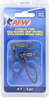 American Fishing Wire 7 Stainless Steel Ball Bearing Snap/Swivels (2-Piece), Black, 400-Pound
