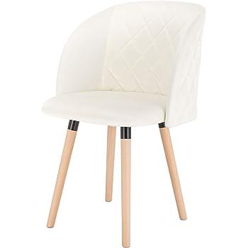 EUGAD Pack de 1 Sillas Comedor Vintage Diseño Sillas Nórdicas Moderna de Terciopelo Patas de Madera Silla de Cocina Crema Silla Tulip: Amazon.es: Hogar