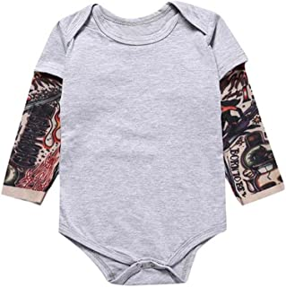 Baby Boy Long Sleeve Tattoo Romper Pure Cotton Jumpsuit Playsuit One Pieces Outfit Gift