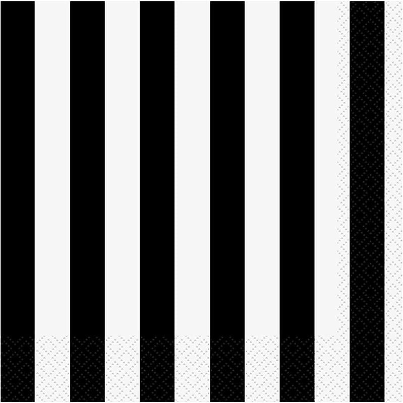 Black Striped Paper Napkins 16ct