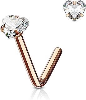 Rose Gold Heart Nose Stud Ring L Bend 316L Surgical Steel (Choose Size)