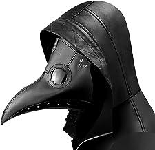 Arespark Doctor de la Peste Máscara, Nariz Larga Steampunk Pico de Pájaro Disfraces de Halloween Máscaras (Negro)