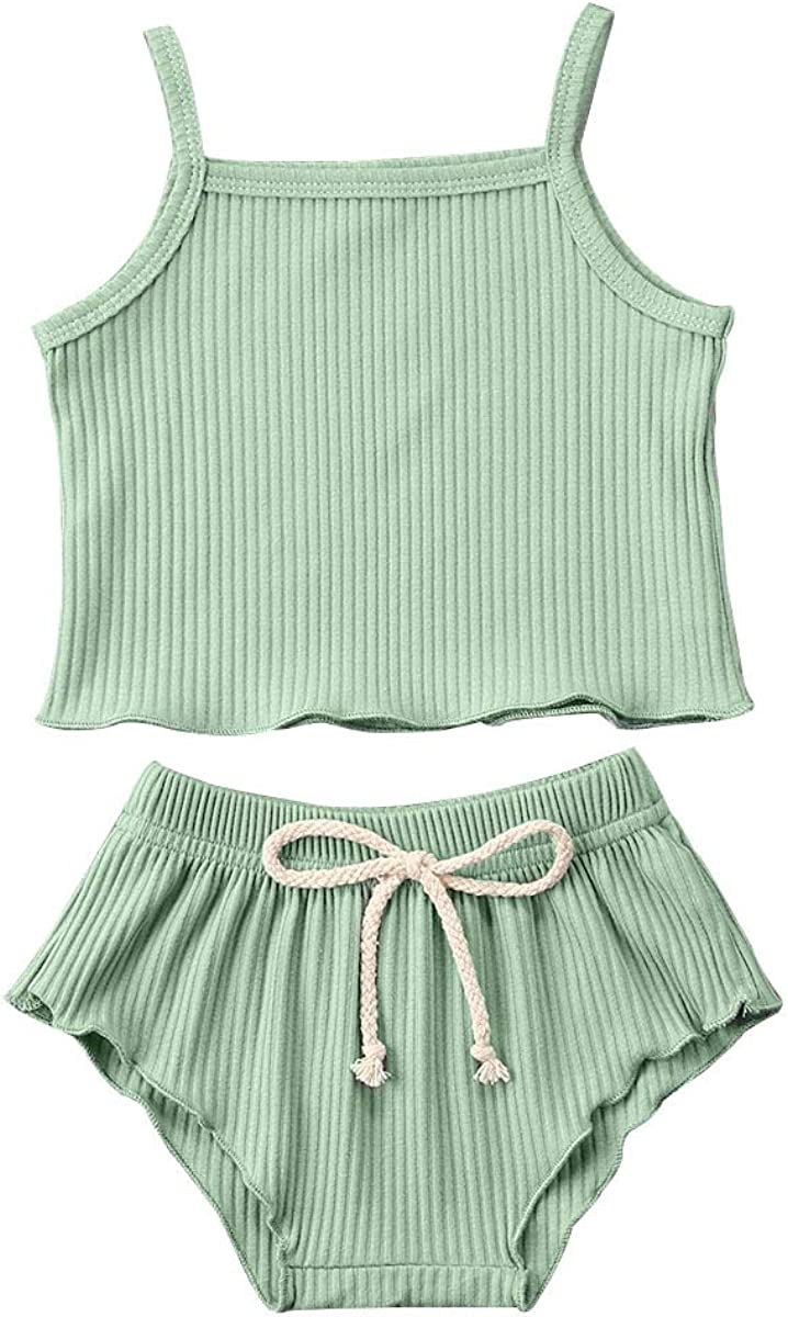 Infant Baby Girls Summer Outfits New product!! Ruffle Knit cheap Romper Halter Draws