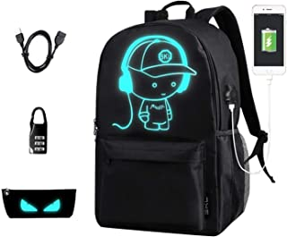 School Backpack SKL Anime Cartoon School Bookbag with USB Charging Port for Boys Girls