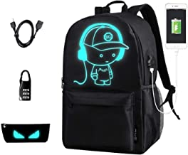 School Backpack SKL Anime Cartoon School Bookbag with USB Charging Port for Boys Girls