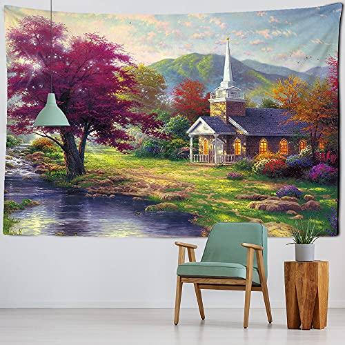 Tapiz de castillo psicodélico paisaje de bosque tapices de pared alfombra dormitorio sala de estar decoración del hogar tapices A5 73x95cm