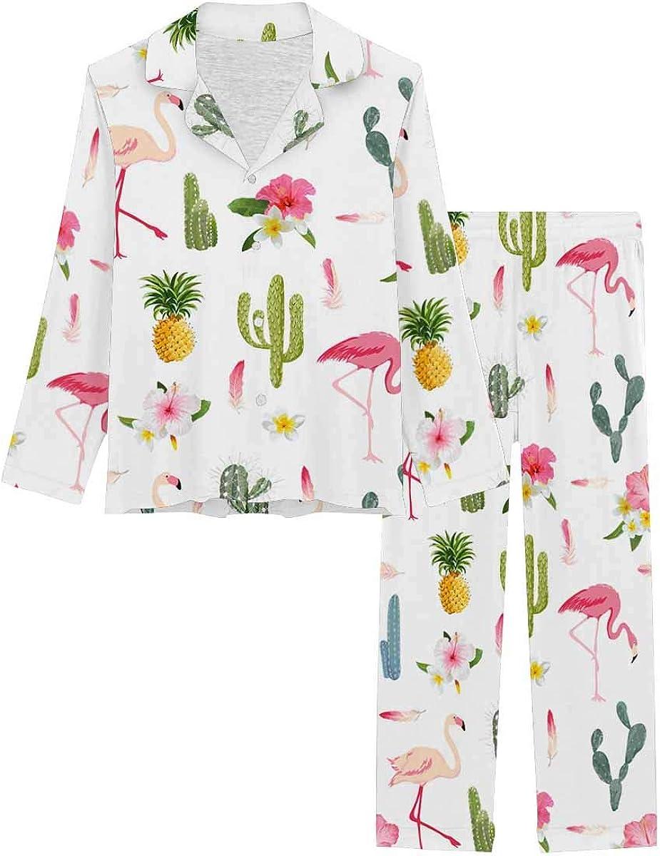 InterestPrint Notch Collar Soft Sleepwear Pj Set for Women Flamingo and Cactus
