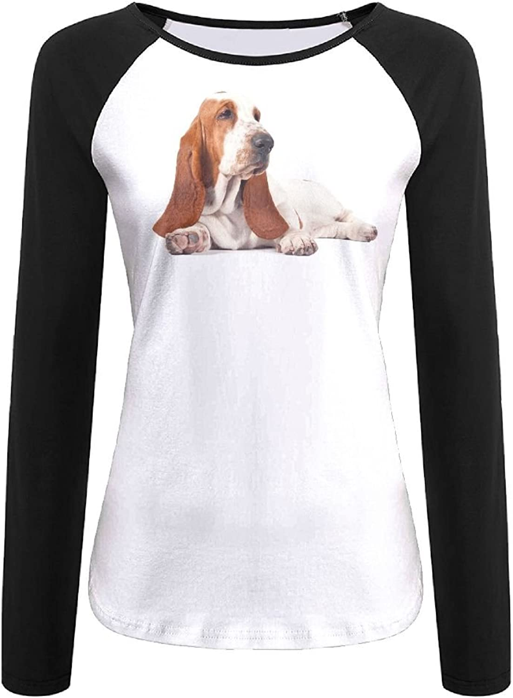 Women's Long Sleeves Tshirt Raglan Basset Hound Dog Illustration 3D Digital Casual Top