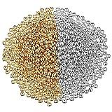 3000 Pezzi 4 mm Perline Rotonde Lisce Perline Distanziali Piccole Sfera Rotonda Perline Perline Allentate Lisce Senza Soluzione di Continuità per Bracciale Collana Gioielli DIY (Oro, Argento)