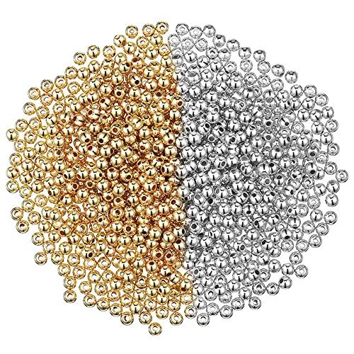 3000 Piezas 4 mm Cuentas Espaciadoras Pequeñas Cuentas Redondas Lisas Cuentas de Bolas Redondas Cuentas Sueltas sin Costuras para Fabricación Joyas Pulsera Collar DIY (Oro, Plata)