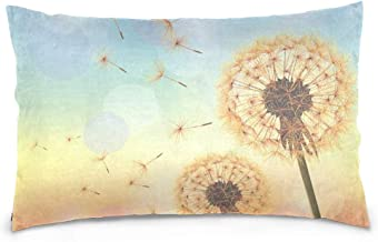 Carpet Flowers Flying Dandelion The Wind Microfiber Pillowcases Set of 2,Soft and Cozy,Wrinkle,Fade,Stain Resistant,Pillow Case Sham Cover Protector for Couch Bed Home Decor 16 x 24 inch Standard Size