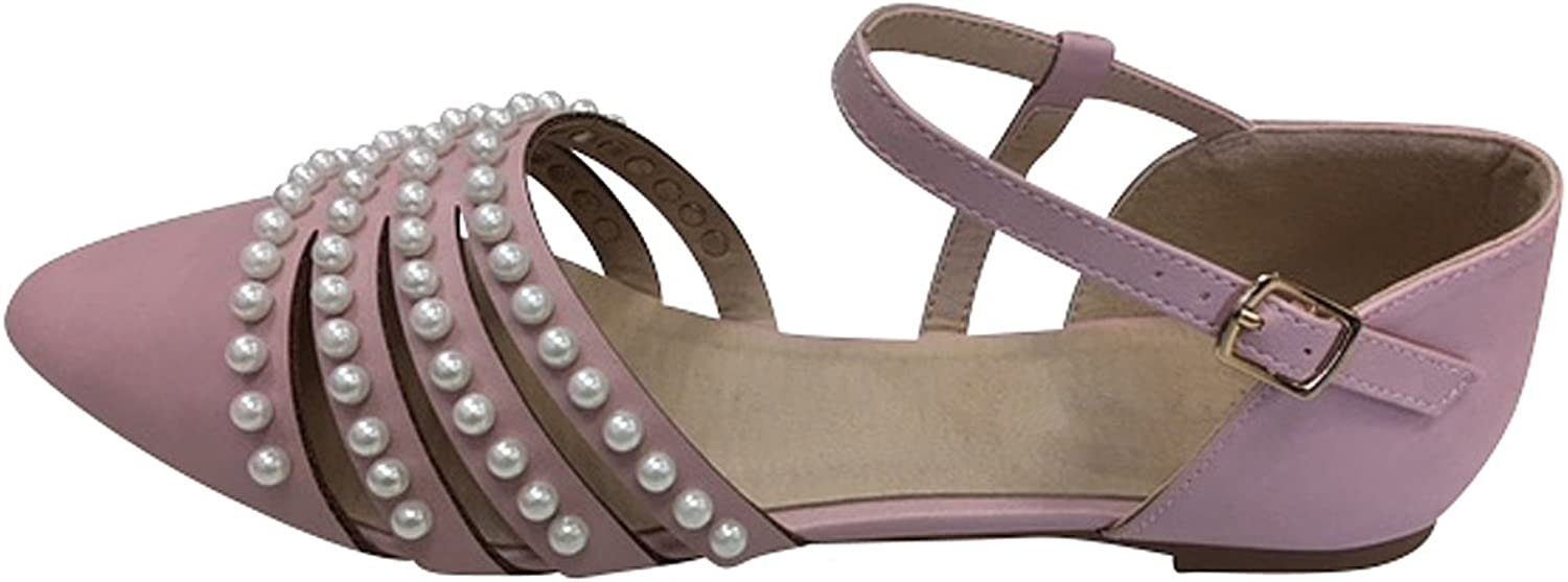 Cambridge Select Women's Closed Pointed Toe Faux Pearl Studded Cutout Ankle Strappy Ballet Flat