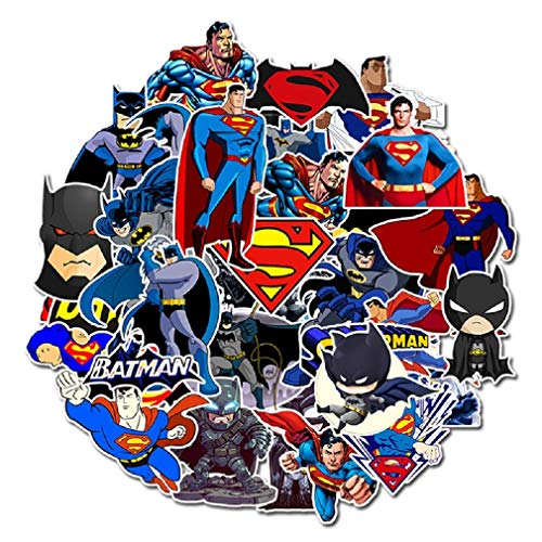 SetProducts  Top Pegatinas!  Juego de 45 Pequeñas Pegatinas de Batman y Superman - Calidad de Comics - No Vulgares - Marvel, Bomba, Super Héroes - Personalización, Scrapbooking, Bullet Journal