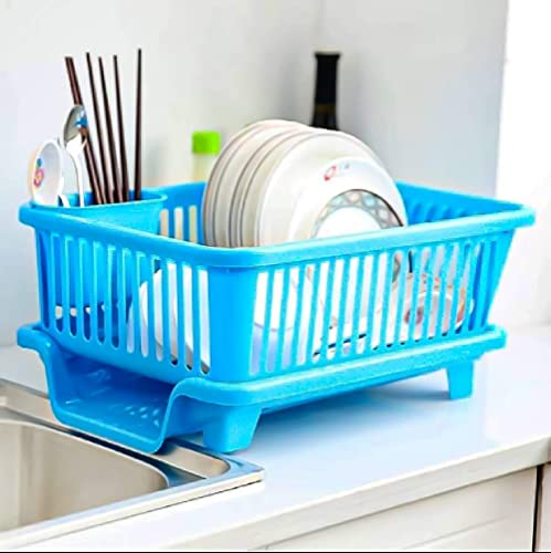 SHOPPINO 3 in 1 Large Durable Plastic Kitchen Sink Dish Rack Drainer Drying Rack Washing Basket with Tray for Kitchen Dish Rack Organizers Utensils Tools Cutlery Blue