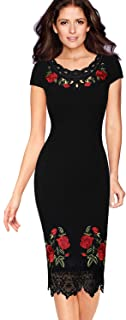 VFSHOW Womens Floral Embroidered Work Business Office Cocktail Party Dress