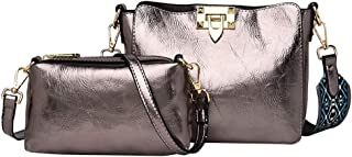 LQQSTORE Damen Umhängetaschen Schultertaschen 2Pcs Bohemian Einfach Einfarbig Leder Schulter Tasche Crossbody Tasches (Gold)