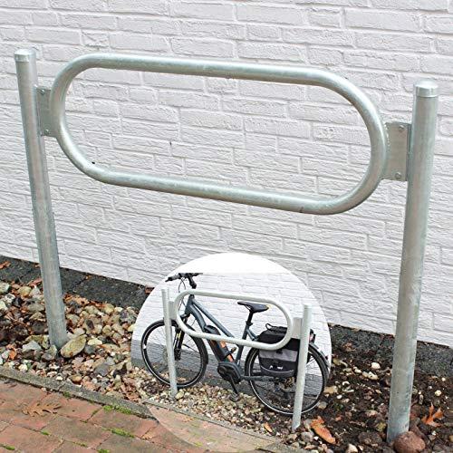 B-Ware (Neuware mit Produktionsfehler) Fahrradanlehnbügel mit Mittelrahmen zum Einbetonieren feuerverzinkt Fahrradständer Anlehnbügel Anlehnständer Poller Ständer Fahrradständer Baumschutzbügel