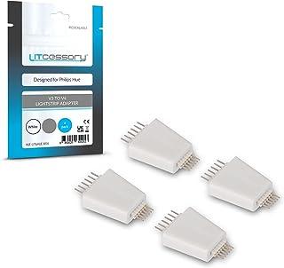 Litcessory V3 naar V4 Lichtstripadapter voor Philips Hue Lightstrip Plus (Pakket van 4, Wit)