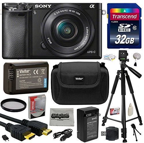 """Sony Alpha a6000 24.3 MP Interchangeable Mirrorless Lens Camera with 16-50mm Power Zoom Lens (ILCE6000L/B) with Must Have Accessories Bundle Kit includes 32GB Class 10 SDHC Memory Card + Replacement (1200mAh) NP-FW50 Battery + Home Wall Charger with Car and European Adapter + Professional 60"""" Inch Photo/Video Tripod + Ultra Violet UV High Definition Filter + Hard Shell Carrying Case + High Speed USB Reader/Writer + HDMI Cable + Camera Lens Cleaning Kit + Bonus for Digital Prints"""