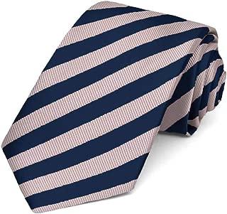 TieMart Blush Pink and Navy Blue Formal Striped Tie