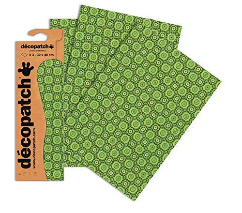Decopatch Papier No. 643 (grün Kachelmuster, 395 x 298 mm) 3er Pack
