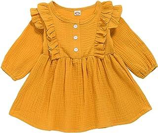 YALLET Toddler Baby Girls Long Sleeve Cotton Tutu Cute Bowknot Dress