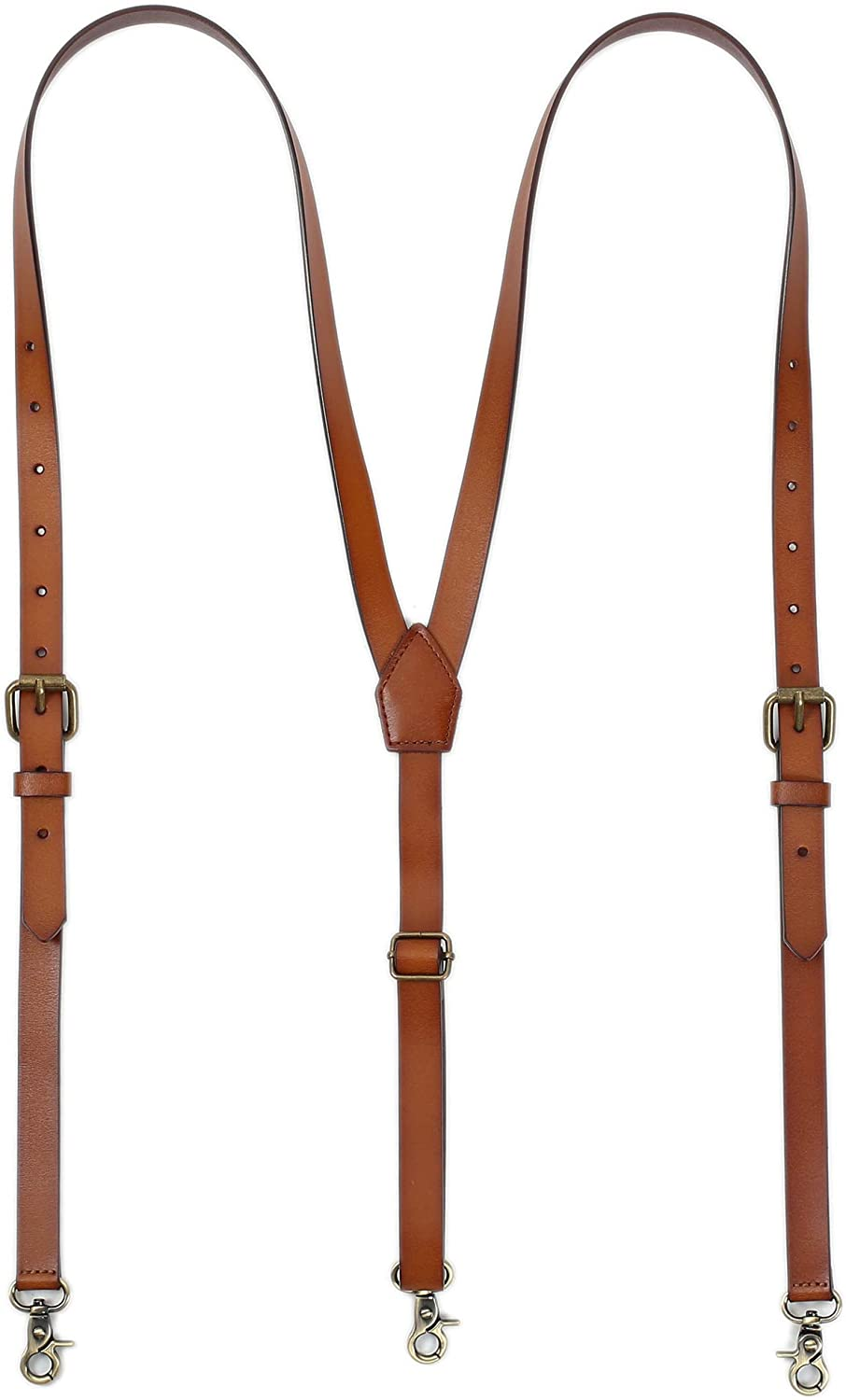 Leather Suspenders For Men, Personalized Brown Genuine Leather, Groomsmen Gifts
