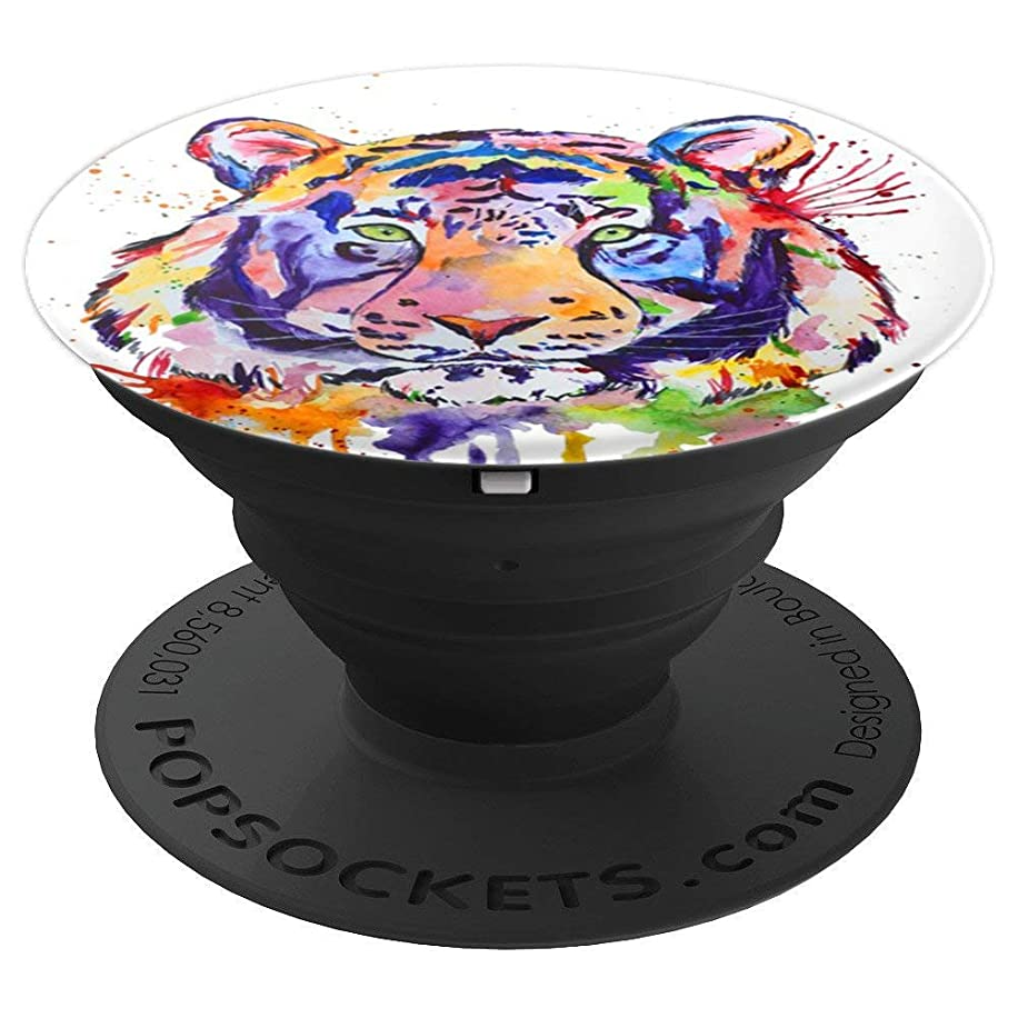 Watercolor Colorful Wild Cat Tiger Pop Mount Socket - PopSockets Grip and Stand for Phones and Tablets