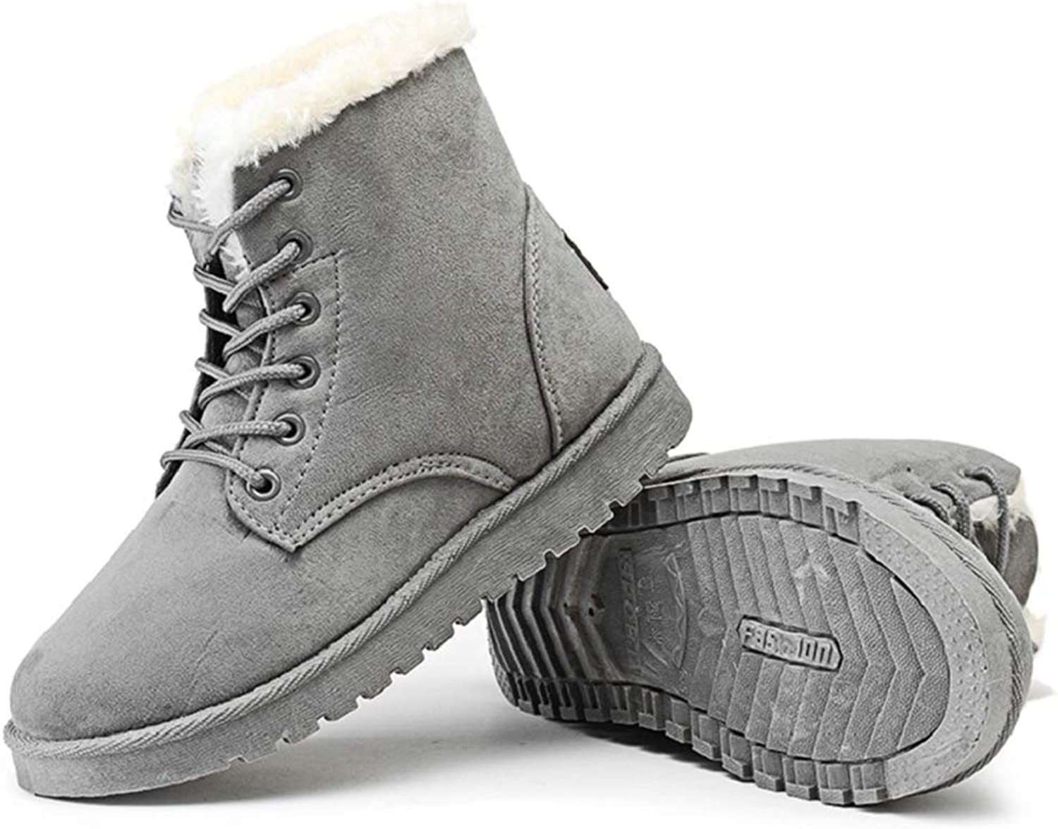 Hoxekle Woman Fashion Ankle Boots Lace Up Round Toe Plush Lining Winter Warm Flat Antislip Female Ourdoor Snow shoes