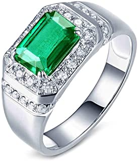 ButiRest Pt950 - Coppia di fedi nuziali, in platino con taglio smeraldo, 1,42 ct, verde smeraldo VS e diamante 0,35 ct