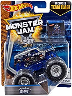 Hot Wheels Monster Jam Chrome Son Uva Digger 1:64 Scale, Silver
