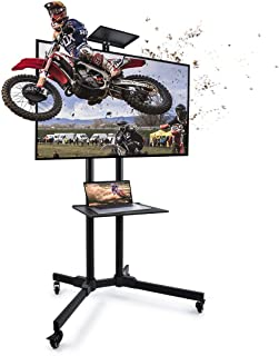 Mobile TV Cart with Wheels, Adjustable Rolling TV Stand for 32