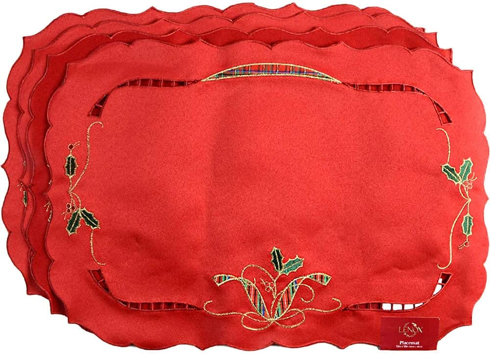 Lenox Holiday Nouveau Placemats Red New York Mall Bombing new work of Set 4