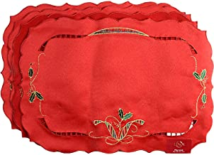 Lenox Holiday Nouveau Placemats, Set of 4, Red