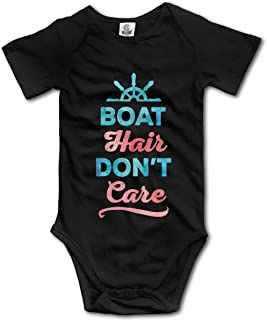Ghhpws Boat Hair Don't Care Baby's Onesie Unisex Short Sleeve Comfortable Bodysuit Outfits Black