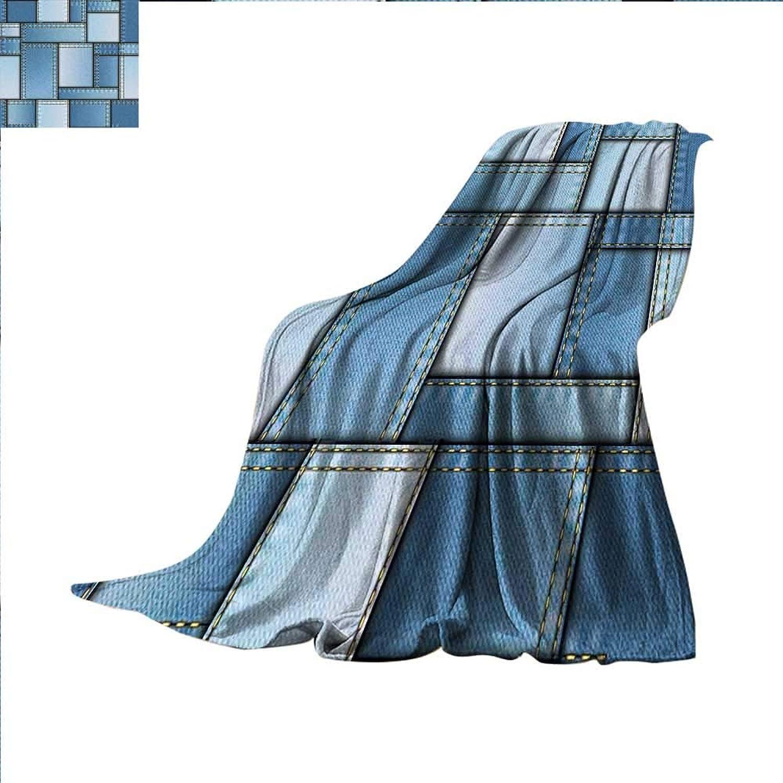 Guane Country Digital Printing Blanket Patchwork of Different Size Denim Seem Fabric Pattern with greenical Warp Beam Artprint Summer Quilt Comforter 60 x50  bluee