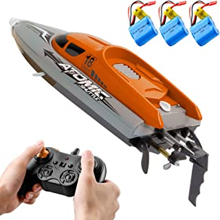GoolRC RC Boat Remote Control Boat 30KM/H High Speed IPV7 Waterproof 2.4GHz 4 Channel Racing Boat for Kids Adults 3 Batteries