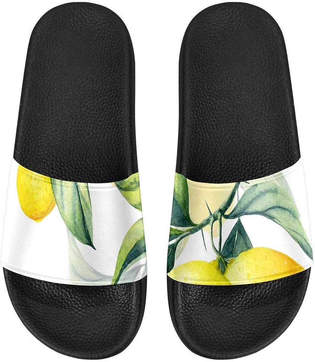 InterestPrint Women's Casual and Lightweight Slipper Sandals for Home Lemon and Sliced Lemon