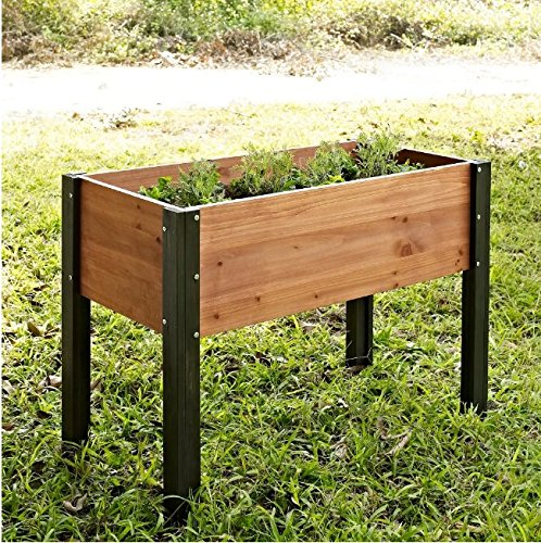 Bloomfield Wood Raised Garden Bed Crafted from Durable Fir Wood in Dark Stained Wood Legs- 40L x 20D x 29H in.