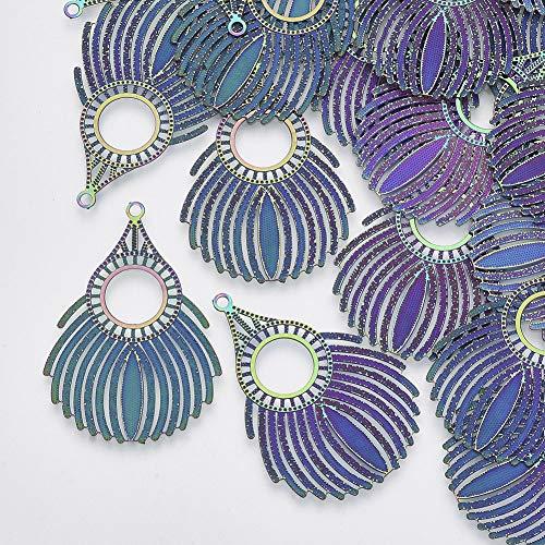 Beadthoven - 50 colgantes de acero inoxidable con filigrana de color arco iris grabados con conector hueco para hacer joyas y manualidades