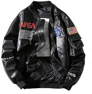 Pride Panda Mens Bomber NASA Jacket Fashionable Military Flight Leather Jacket