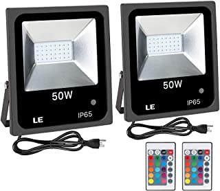 LE Outdoor Led Flood Lights, IP65 Waterproof, 50W RGB, 16 Color Changing, 4 Lighting Modes, Plug in Security Floodlights with Remote Control, for Home, Backyard, Patio, Garage, Tree, Pack of 2