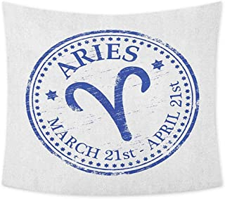jecycleus Zodiac Aries Cute Tapestry for Men Vintage Rubber Stamp Design with Horoscope Sign Stars and Dates Living Room Wall Decor for Bedroom W70 x L70 Inch Royal Blue and White
