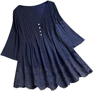 Women Long Sleeve T-shirt Dress ❀ Ladies Vintage Jacquard Three Quarter Lace V-Neck Plus Size Top T-Shirt Blouse